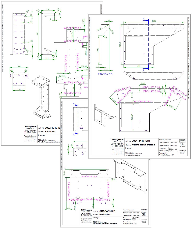 Budowa maszyn - Rysunki blach